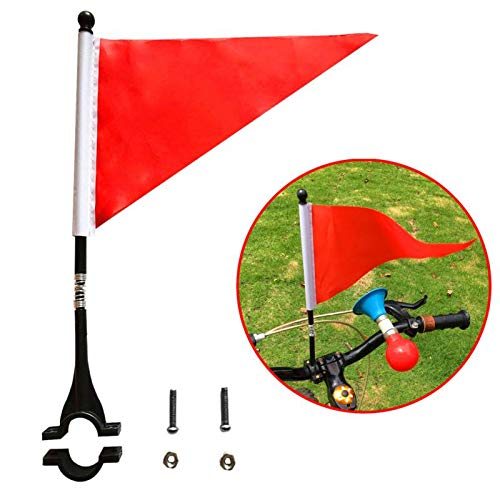 AISHEMI Kids Bike Accessories Cycling Handlebar Safety Flag Pole Polyester Tear-Resistant Waterproof Orange Safty Flag