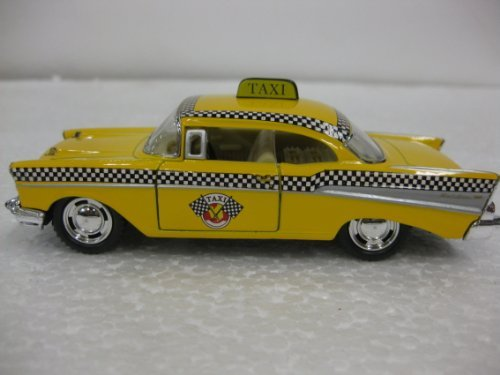 Diecast 1957 Chevrolet Bel-Air Taxi 1:40 Scale with Opening Doors And Pull Back Action Manufactured By Kinsmart Model: (Action Bel)