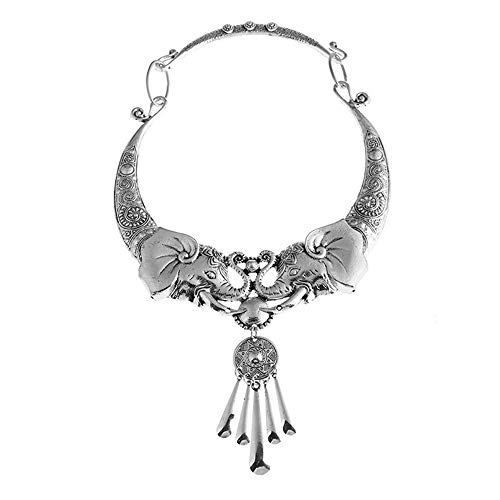 (ZTANPS Women's Vintage Ethnic Carved Colorful Chunky Collar Necklace Necklace India Exaggerated Jewelry (Silver Elephant))