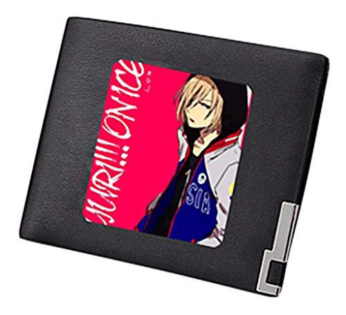 Yuri Slim 1 Cosstars Uomo Sintetica Anime Ice Borsellino Pelle 3 In Sottile Portamonete Portafoglio On Piccolo Wallet Nero OBwBad