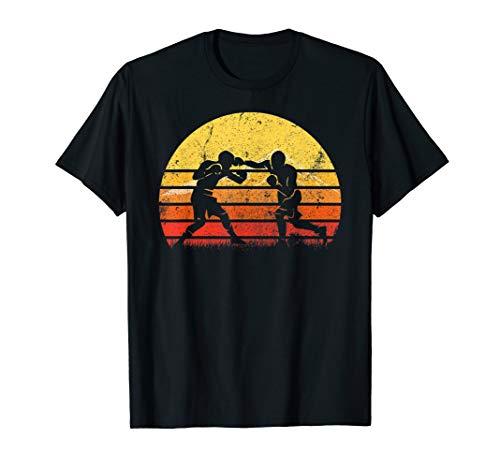 (Vintage Retro Boxing Player Boxer Silhouette Sun TShirt Gift)