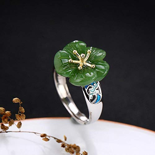 Weiwei Men Ring Rings S925 Sterling Silver Inlaid Natural Jasper Cloisonne Lady Plum Blossom - Jasper Plum