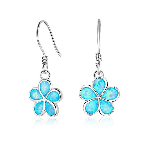 Sterling Silver Blue Opal Inlay Flower Dangle Earrings