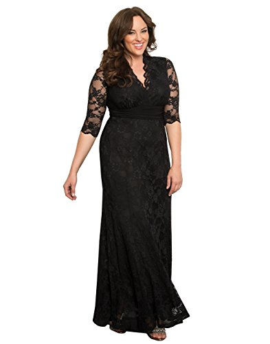 Kiyonna Women's Plus Size Screen Siren Lace Gown 1x Onyx ()