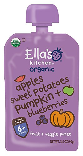 (Ella's Kitchen Organic 6+ Months Baby Food, Apples Sweet Potatoes Pumpkin & Blueberries, 3.5 oz. Pouch (Pack of 6))