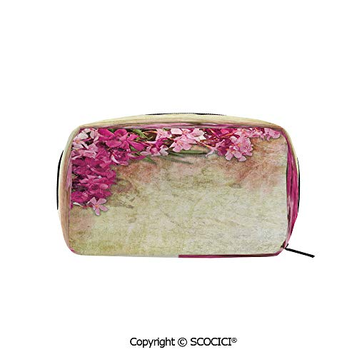 Rectangle Organizer Toiletry Makeup Bags Pouch Vintage Illustration of Oleander Flowers Distressed Retro Background Portable Makeup Brushes Bag