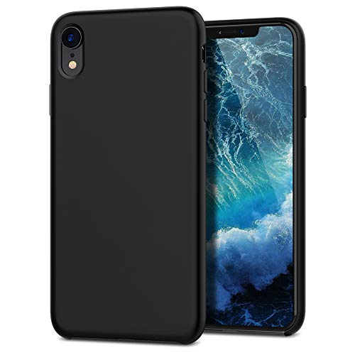 Cubevit iPhone XR Case, Liquid Silicone Gel Rubber Shockproof Phone Case with Soft Microfiber Cloth Cushion Lining, Slim Thin Fit Protective Phone Cover for Apple iPhone XR 6.1 2018 (Black)