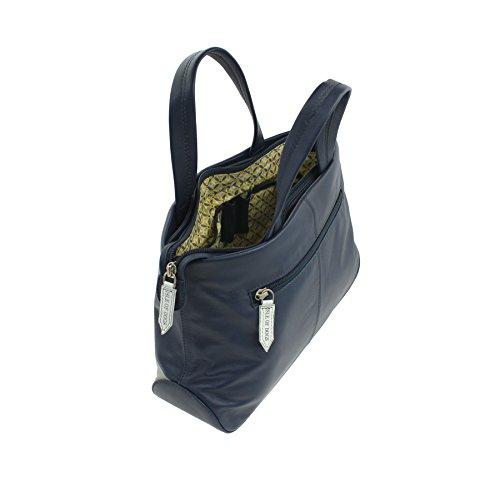 Mala de piel BEAU colección de cuero Grab Bag - correa de hombro desmontable 798_89 Armada azul marino