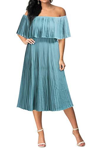 (Mmondschein Women's Vintage Off Shoulder Evening Casual Party Chiffon Maxi Dress Light Green M)