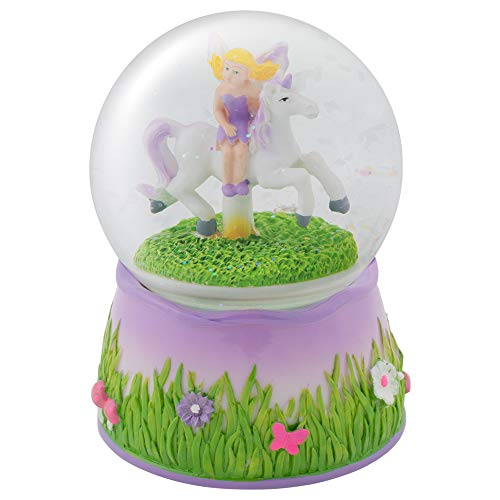 Elanze Designs Purple Fairy and Unicorn Rotating Figurine 100MM Water Globe Plays Tune You are My Sunshine (Box Music Fairy)