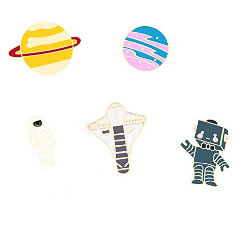 - TULIP LY Cute Enamel Lapel Brooch Pin Set Cartoon Astronaut Spaceship Brooches Novelty Funny Pins Badges for Women Girls Boys Clothing Bags Backpacks Jackets Hat (Planet Spaceman)