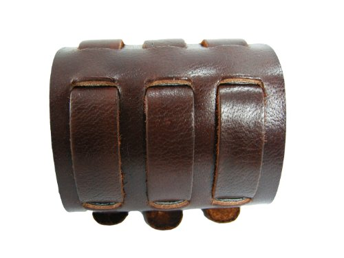 Biker Buckle (BrownBeans, Biker Buckles Brown Leather Wristband Bracelet Watchbands for Men)