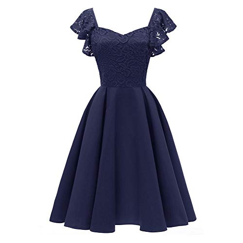Floral Lace Cocktail Swing Dress for Women Vintage Princess Neckline Party Dresses Navy