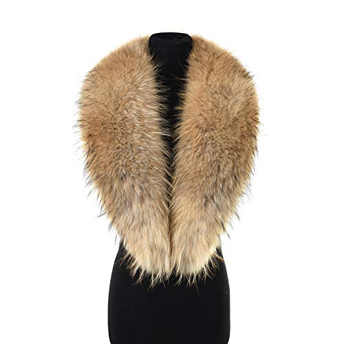 Ferand Women's Luxurious Real Raccoon Fur Collar Scarf, Detachable and Warm, Ideal for Your Coat Jacket in Winter, 110 cm: Light natural ()
