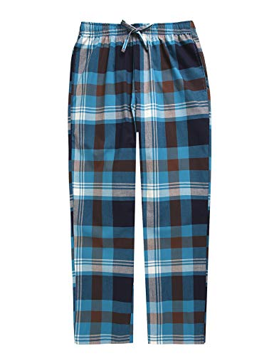 TINFL Boys Plaid Check Soft 100% Cotton Lounge Pants BLP-PM40-Aqua-XL