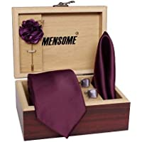 Mensome Men's Cotton Necktie,pocket Square, Lapel Pin Cufflinks Gift Set Wine Free Size (wine)