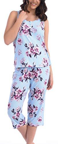 Cozy Loungewear Ladies Super Soft Pajama Set (Striped Blue Bell, Large)