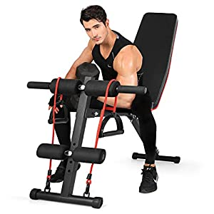 Fitnessclub Weight Bench, Multi-Purpose Foldable Incline Decline, 7 Position Adjustable Workout Bench With Pull Rope for Home Gym Full Body Workout Strength Fitness Training Exercise , 600 lbs Capacity