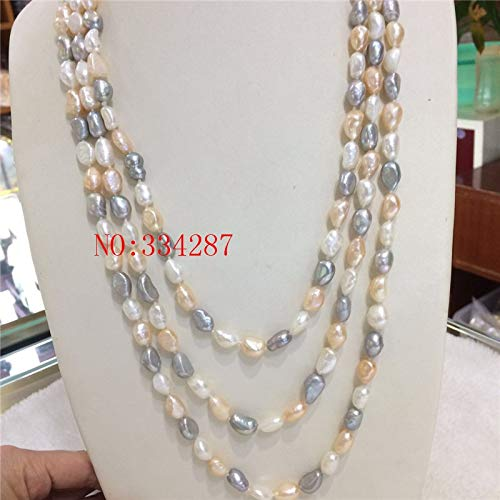 Davitu Natural Freshwater Pearl 8-9MM Pink Gray White Freshwater Pearl Baroque Irregular Pearl Necklace 48 Inches - (Main Stone Color: Multi, Length: Other)