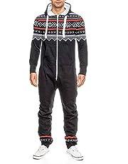 UpTickWear Men's Printed Onesie Hoody All in One Tracksuit Men Allover Printed Jumpsuit