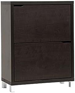 Baxton Studio Simms Shoe Cabinet in Dark Brown