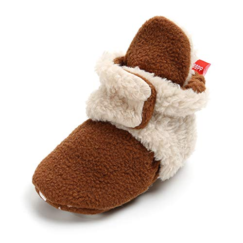 SOFMUO Unisex Baby Cozy Fleece Booties with Non Skid Bottom Newborn Socks Infant Warm Winter Crib Shoes(Brown&Apricot,6-12 Months) ()