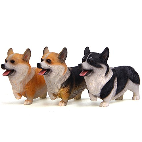 Kimkoala Cute Corgi Dog Figures, 3Pcs Small Lovely Resin Corgi Puppy Toys Model Miniature Figurines for Home Office Desk Car Decoration Ornaments and Kids Gift ()