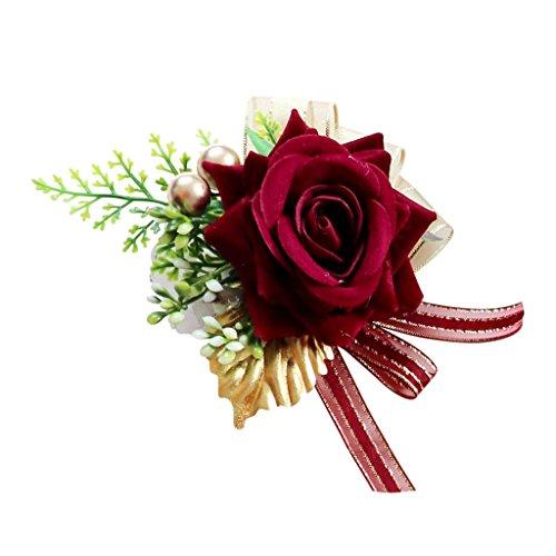 (Homyl Wedding Pearls Velvet Rose Flower Wrist Corsage Stretch Sister Hand Flower Accessories - Burgundy, as described)