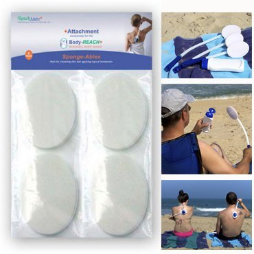 Replacement Sponge-Ables 8-Pack for use with the Body-Reach+ Bendable Lotion Applicators ReachMate Plus Inc.
