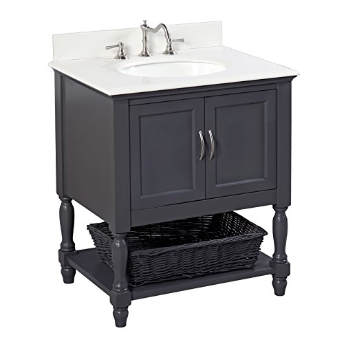 Beverly 30-inch Bathroom Vanity (Quartz/Charcoal Gray): Includes a White Quartz Countertop, a Charcoal Gray Cabinet, and a Ceramic ()