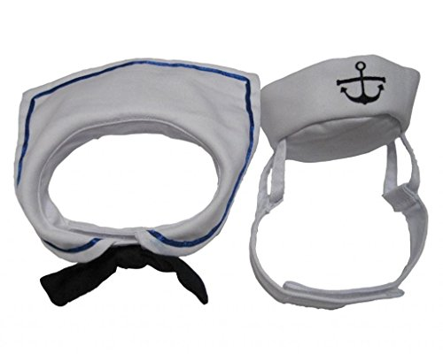 Dogs Kingdom Cat Dog Sailor Costume Hat Navy Tie Pet Sailor Costume Set White One Size -
