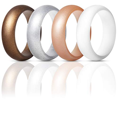ThunderFit Silicone Rings Wedding Bands for Women 4 Pack (Bronze, White, Silver, Rose Gold, 6.5-7 -