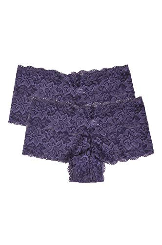 Women's Premium Lace Hipster Panty (2 Pack) (Medium, Bluish - Boyshort Embroidery