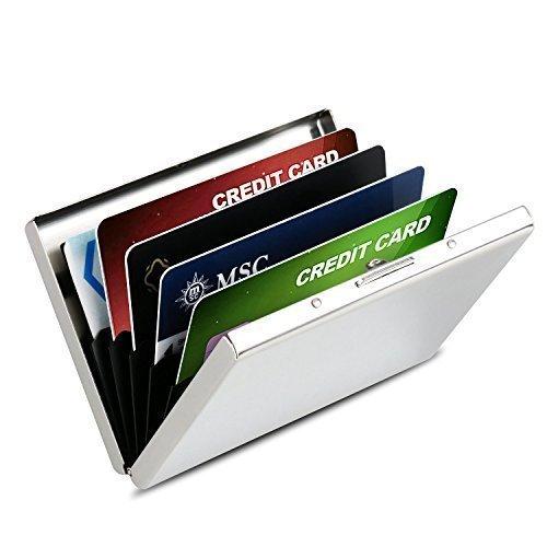 HOMETEK™ Neueste Qualität Glatte Edelstahl Kreditkarteninhaber für Männer & Frauen || RFID Kreditkarte Halter Beste Schutz gegen RFID Scanning Criminals || Cool Schlank Metall Visitenkarten Etui Kreditkarten Schutzhülle || Visitenkartenhalter Kreditkarten Etui || Platz für bis zu 6 Kreditkarten