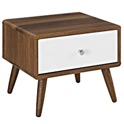 Bedroom Modway Transmit Mid-Century Modern Nightstand or Side Accent Table in Walnut modern bedroom furniture