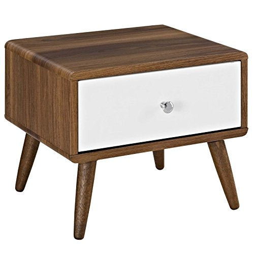 Modway Transmit Mid-Century Modern Nightstand or Side Accent Table in Walnut