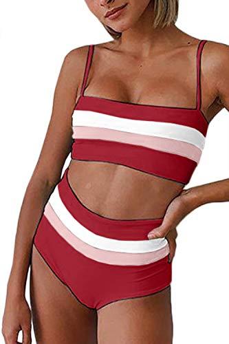 (Almaree Colorblock Bikini Sets for Women Stripe Bandeau High Rise Swimwear Ruby M)
