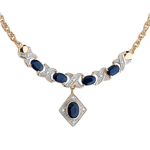 Genuine Midnight Blue Sapphire 18k Gold over .925 Sterling Silver''X & O'' Necklace 16'' by Palm Beach Jewelry