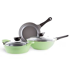 Neoflam Eela 5 Piece Ceramic Non-Stick Cookware Set, Apple Green