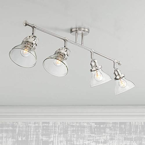 Luca 4-Light Nickel Clear Glass Track Fixture by Pro Track - Pro Track