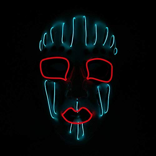 (Mask Fashion Led Party Halloween Neon Luminous Wire Glowing Ghost Skull)