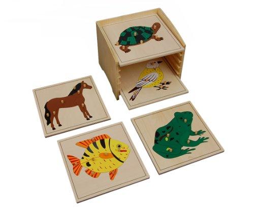 Montessori Animal Puzzle Cabinet with 5 Puzzles