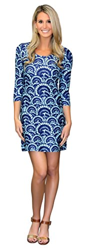 Darby Shift Dress in Flower Fantasy Blue - Darby Ice
