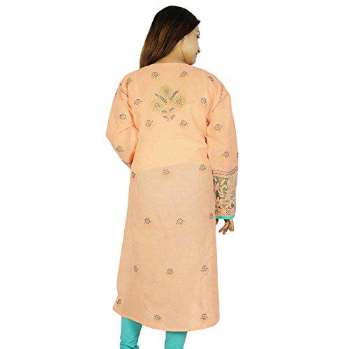 Étnica Kurti diseñador indio Chikan bordado Kurta mujeres vestido casual Melocotón y Aqua Blue