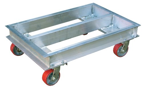 Vestil ACP-2130-9 Aluminum Channel Dolly with Hard Rubber Caster, 900 lbs Capacity, 30'' Length x 21'' Width x 6'' Height Deck by Vestil (Image #1)