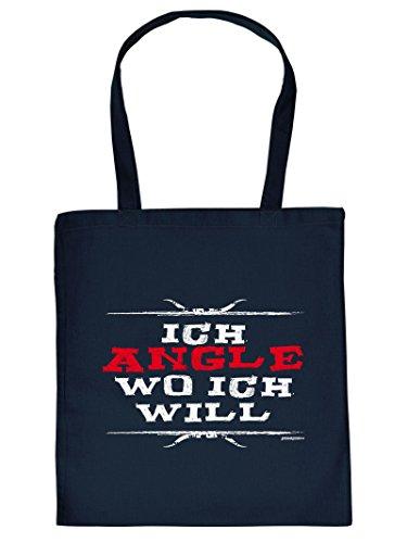 Tasche für Angler. Diese Henkeltasche mit Aufdruck: ICH ANGLE WO ICH WILL ist eine tolle Geschenkidee.