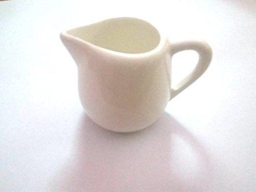1 PCS Mini 1.5 Oz White Pitcher Kitchen Home Craft Milk bingsu Frothing Jug (White Mini Creamer)