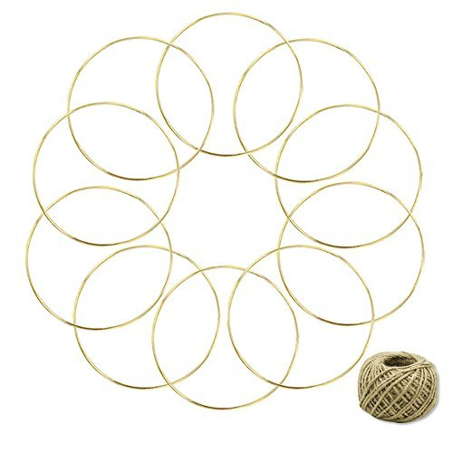 coceca 10 piezas 6-inch Oro Dream Catcher Anillos de metal, Metal Hoops para manualidades y Dream Catcher, con 50 m Yute...