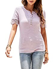 WAYMAKER Womens V Neck Henley Shirt Ribbed Lace Long Sleeve Button Down Tshirt Causal Blouse Tops