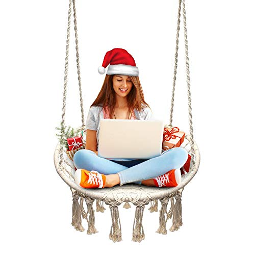Sonyabecca Hammock Chair Macrame Swing 265 Pound Capacity Handmade Knitted Hanging Swing Chair for Indoor/Outdoor Home Patio Deck Yard Garden Reading Leisure Lounging from Sonyabecca